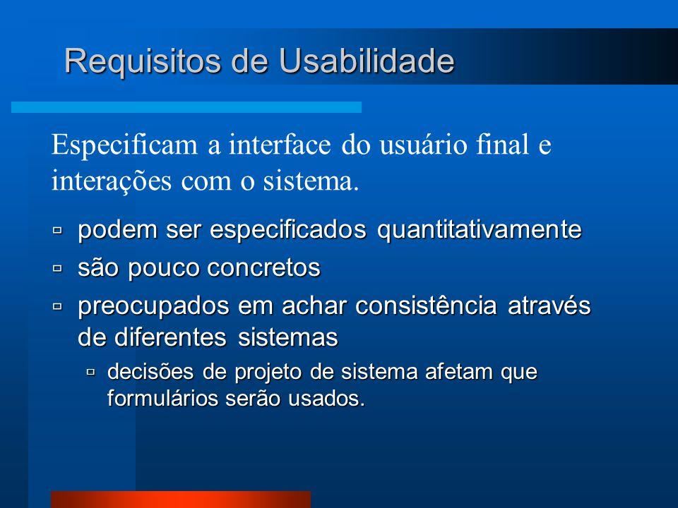 Especificam a interface do usuário final e interações com o sistema.