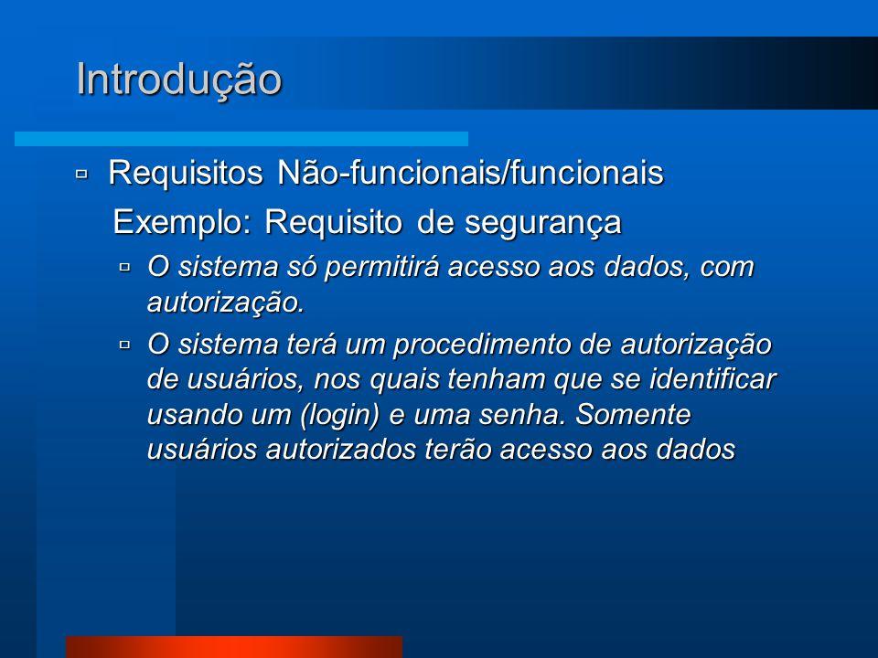 Introdução  Requisitos Não-funcionais/funcionais Exemplo: Requisito de segurança Exemplo: Requisito de segurança  O sistema só permitirá acesso aos dados, com autorização.