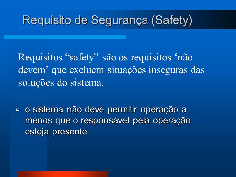 Requisitos safety são os requisitos 'não devem' que excluem situações inseguras das soluções do sistema.
