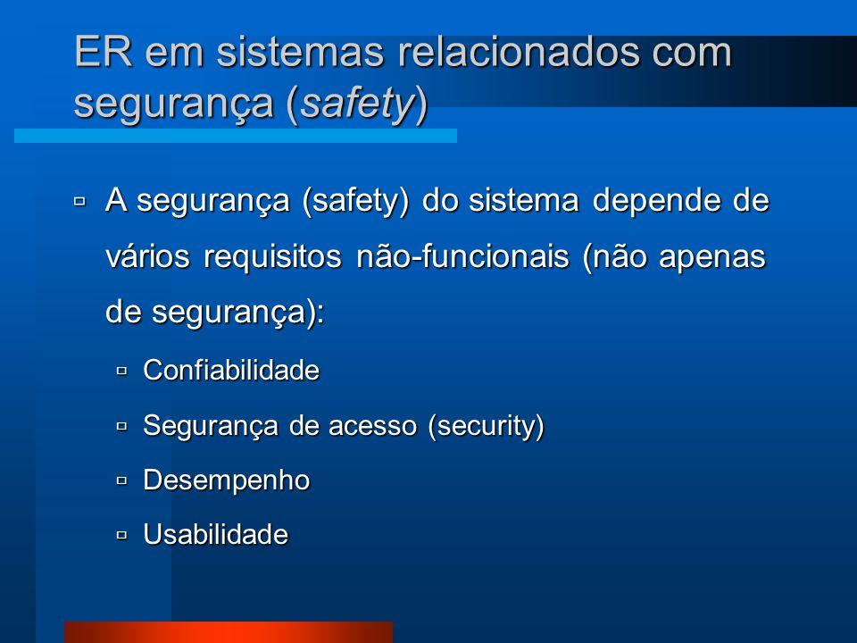 ER em sistemas relacionados com segurança (safety)  A segurança (safety) do sistema depende de vários requisitos não-funcionais (não apenas de segurança):  Confiabilidade  Segurança de acesso (security)  Desempenho  Usabilidade