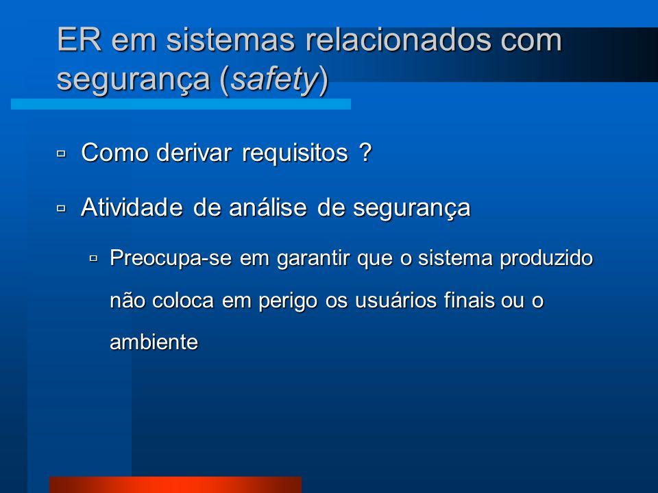 ER em sistemas relacionados com segurança (safety)  Como derivar requisitos ?  Atividade de análise de segurança  Preocupa-se em garantir que o sis