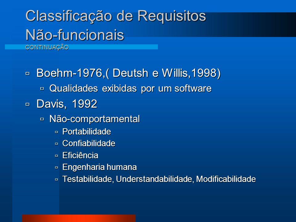 Classificação de Requisitos Não-funcionais CONTINUAÇÃO  Boehm-1976,( Deutsh e Willis,1998)  Qualidades exibidas por um software  Davis, 1992  Não-comportamental  Portabilidade  Confiabilidade  Eficiência  Engenharia humana  Testabilidade, Understandabilidade, Modificabilidade