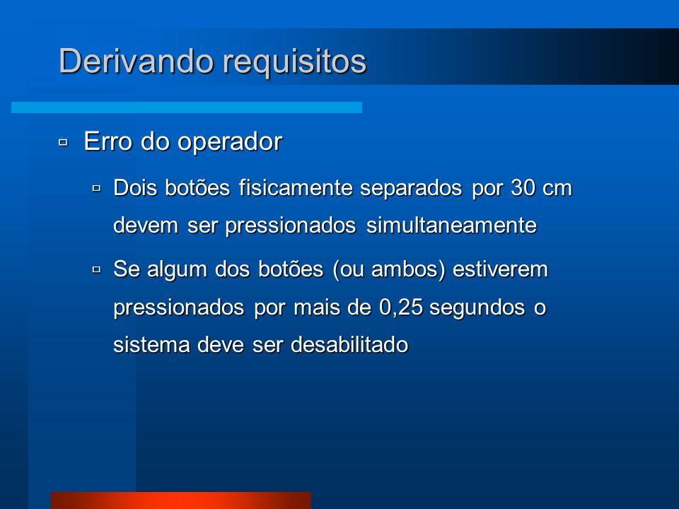 Derivando requisitos  Erro do operador  Dois botões fisicamente separados por 30 cm devem ser pressionados simultaneamente  Se algum dos botões (ou ambos) estiverem pressionados por mais de 0,25 segundos o sistema deve ser desabilitado