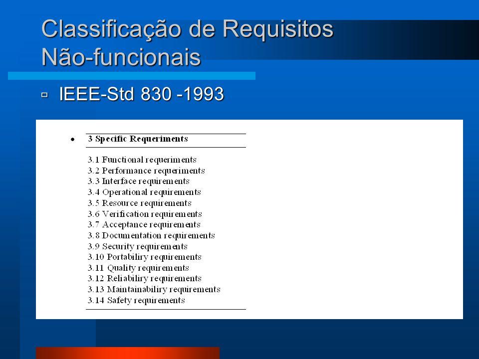 Classificação de Requisitos Não-funcionais  IEEE-Std 830 -1993