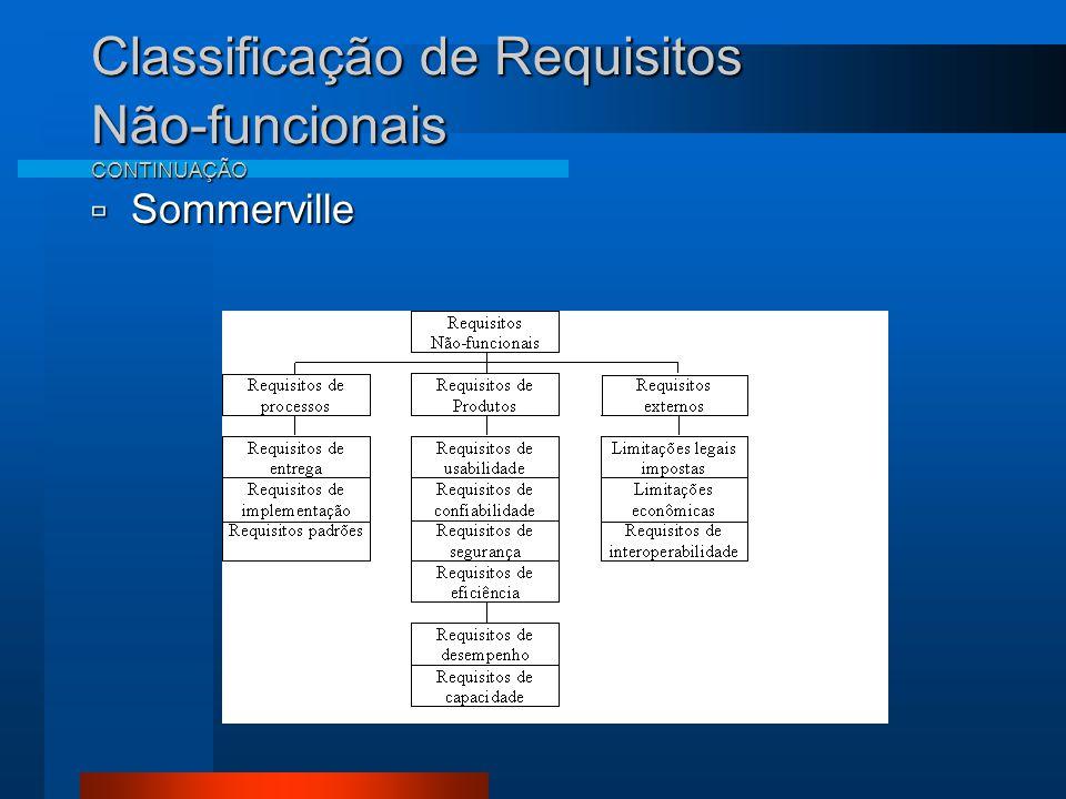 Classificação de Requisitos Não-funcionais CONTINUAÇÃO  Sommerville