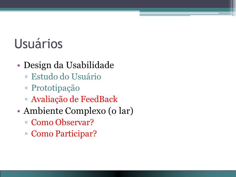 Usuários Design da Usabilidade ▫Estudo do Usuário ▫Prototipação ▫Avaliação de FeedBack Ambiente Complexo (o lar) ▫Como Observar.