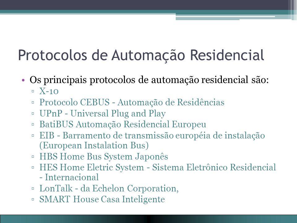 Protocolos de Automação Residencial Os principais protocolos de automação residencial são: ▫X-10 ▫Protocolo CEBUS - Automação de Residências ▫UPnP - Universal Plug and Play ▫BatiBUS Automação Residencial Europeu ▫EIB - Barramento de transmissão européia de instalação (European Instalation Bus) ▫HBS Home Bus System Japonês ▫HES Home Eletric System - Sistema Eletrônico Residencial - Internacional ▫LonTalk - da Echelon Corporation, ▫SMART House Casa Inteligente