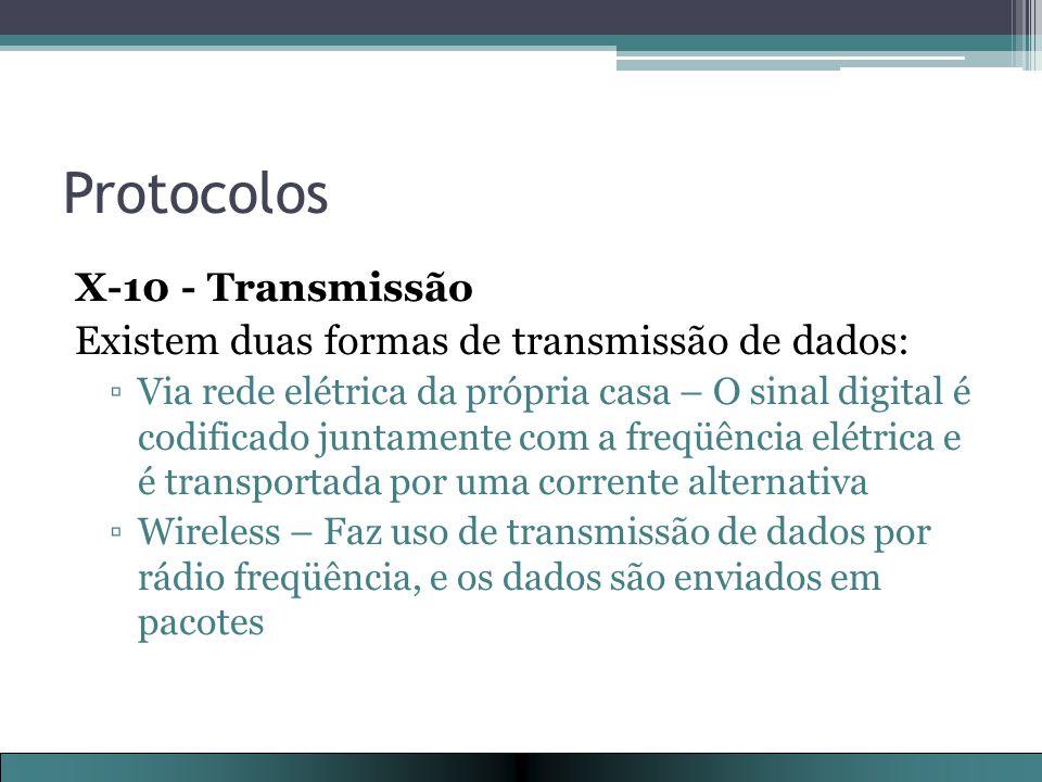 Protocolos X-10 - Transmissão Existem duas formas de transmissão de dados: ▫Via rede elétrica da própria casa – O sinal digital é codificado juntamente com a freqüência elétrica e é transportada por uma corrente alternativa ▫Wireless – Faz uso de transmissão de dados por rádio freqüência, e os dados são enviados em pacotes