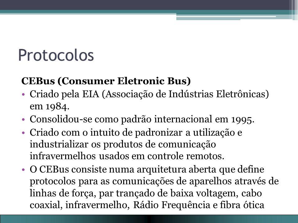 Protocolos CEBus (Consumer Eletronic Bus) Criado pela EIA (Associação de Indústrias Eletrônicas) em 1984.
