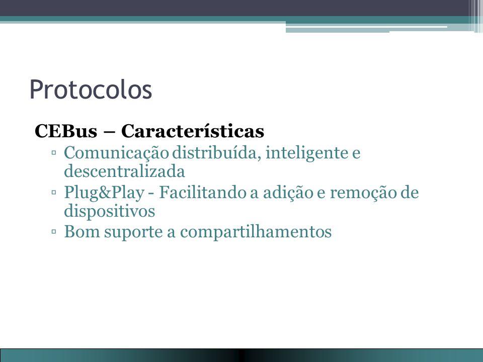 Protocolos CEBus – Características ▫Comunicação distribuída, inteligente e descentralizada ▫Plug&Play - Facilitando a adição e remoção de dispositivos ▫Bom suporte a compartilhamentos