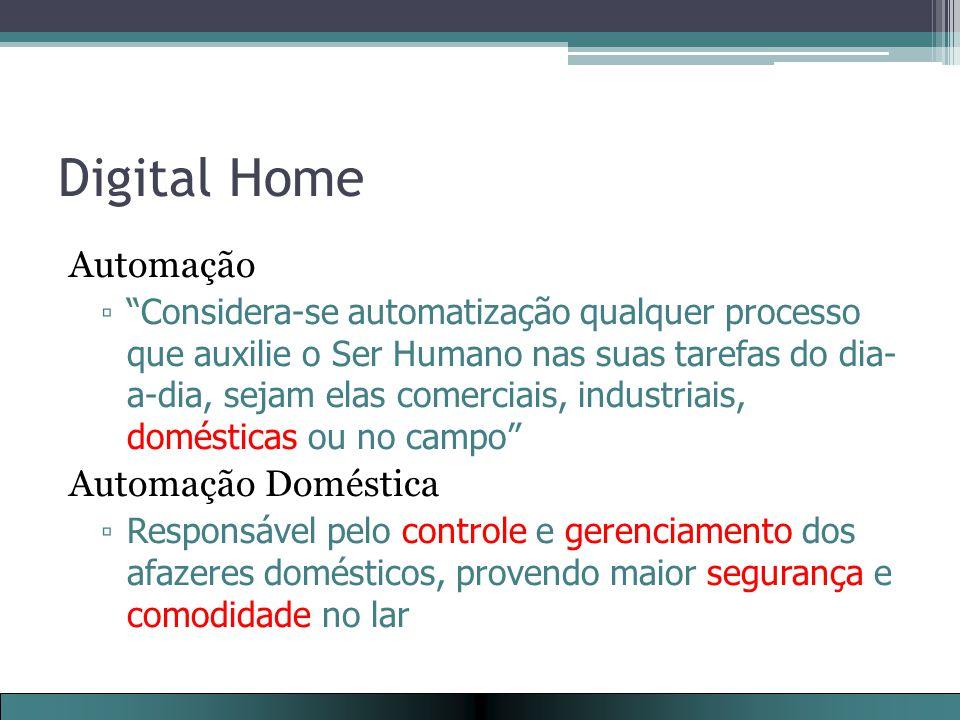 Digital Home Automação ▫ Considera-se automatização qualquer processo que auxilie o Ser Humano nas suas tarefas do dia- a-dia, sejam elas comerciais, industriais, domésticas ou no campo Automação Doméstica ▫ Responsável pelo controle e gerenciamento dos afazeres domésticos, provendo maior segurança e comodidade no lar