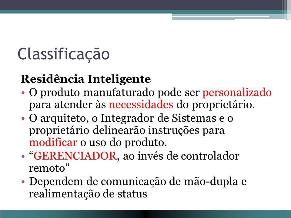 Classificação Residência Inteligente O produto manufaturado pode ser personalizado para atender às necessidades do proprietário.