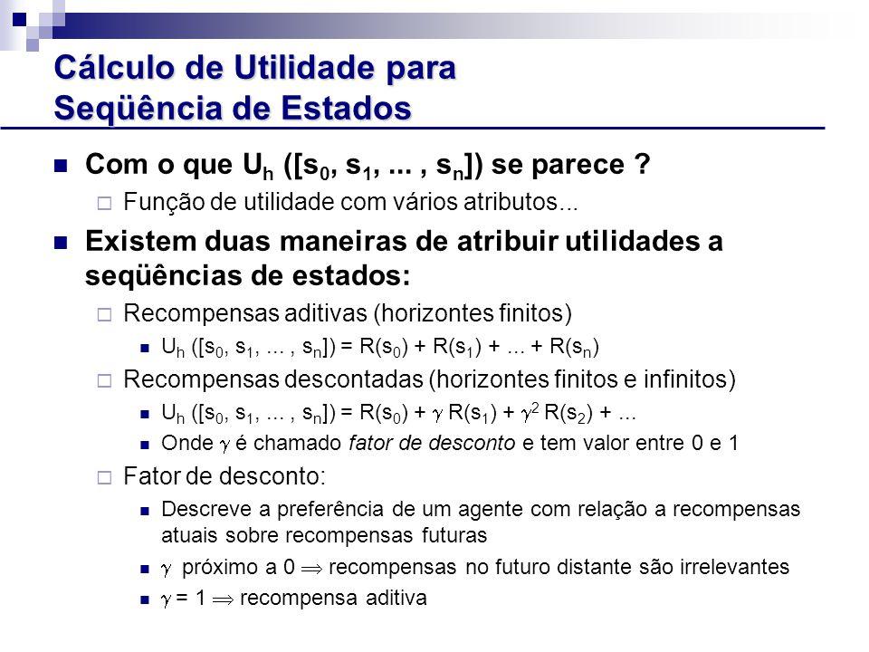 Cálculo de Utilidade para Seqüência de Estados Com o que U h ([s 0, s 1,..., s n ]) se parece .