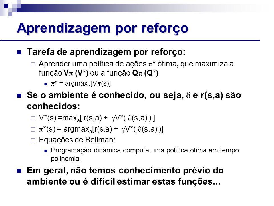 Aprendizagem por reforço Tarefa de aprendizagem por reforço:  Aprender uma política de ações  * ótima, que maximiza a função V  (V*) ou a função Q  (Q*)  * = argmax  [V  (s)] Se o ambiente é conhecido, ou seja,  e r(s,a) são conhecidos:  V*(s) =max a [ r(s,a) +  V*(  (s,a) ) ]   *(s) = argmax a [r(s,a) +  V*(  (s,a) )]  Equações de Bellman: Programação dinâmica computa uma política ótima em tempo polinomial Em geral, não temos conhecimento prévio do ambiente ou é difícil estimar estas funções...