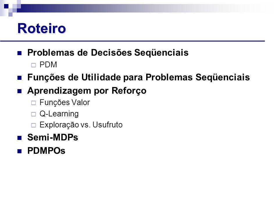 Roteiro Problemas de Decisões Seqüenciais  PDM Funções de Utilidade para Problemas Seqüenciais Aprendizagem por Reforço  Funções Valor  Q-Learning  Exploração vs.