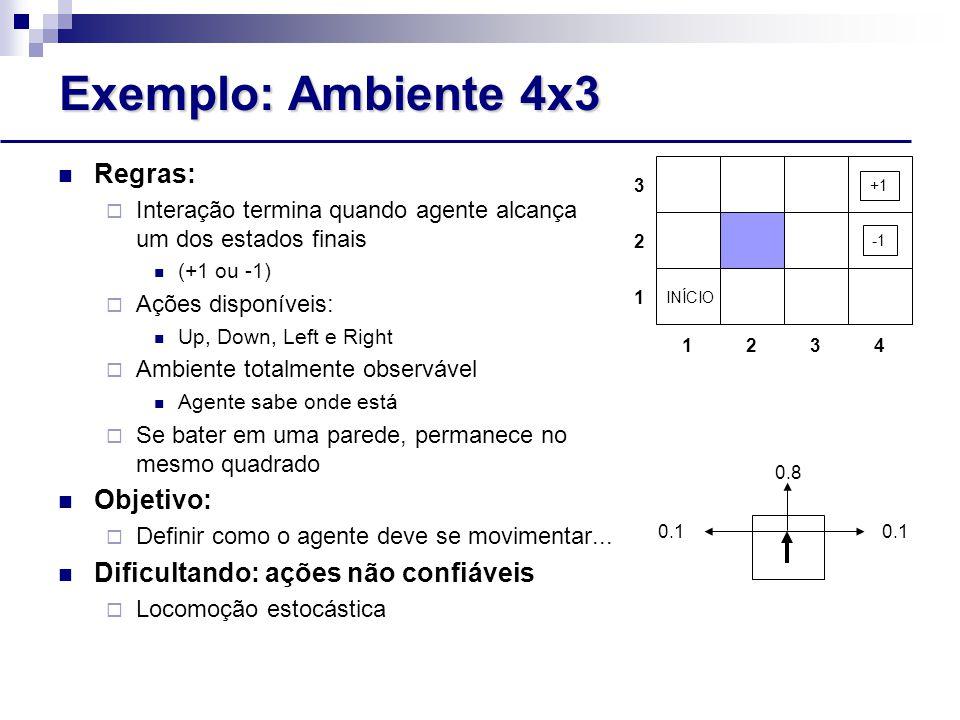 Exemplo: Ambiente 4x3 Regras:  Interação termina quando agente alcança um dos estados finais (+1 ou -1)  Ações disponíveis: Up, Down, Left e Right  Ambiente totalmente observável Agente sabe onde está  Se bater em uma parede, permanece no mesmo quadrado Objetivo:  Definir como o agente deve se movimentar...