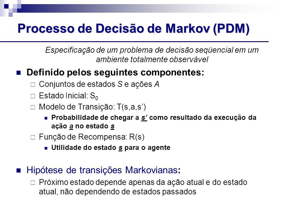 Processo de Decisão de Markov (PDM) Especificação de um problema de decisão seqüencial em um ambiente totalmente observável Definido pelos seguintes componentes:  Conjuntos de estados S e ações A  Estado Inicial: S 0  Modelo de Transição: T(s,a,s') Probabilidade de chegar a s' como resultado da execução da ação a no estado s  Função de Recompensa: R(s) Utilidade do estado s para o agente Hipótese de transições Markovianas:  Próximo estado depende apenas da ação atual e do estado atual, não dependendo de estados passados