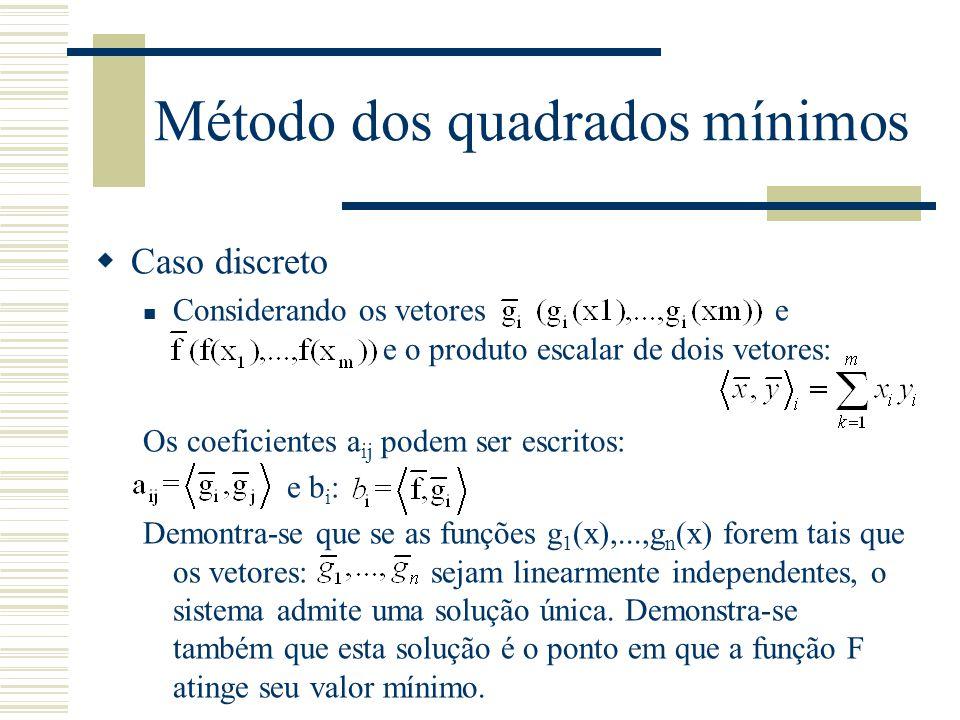 Método dos quadrados mínimos  Caso discreto Considerando os vetores e e o produto escalar de dois vetores: Os coeficientes a ij podem ser escritos: e