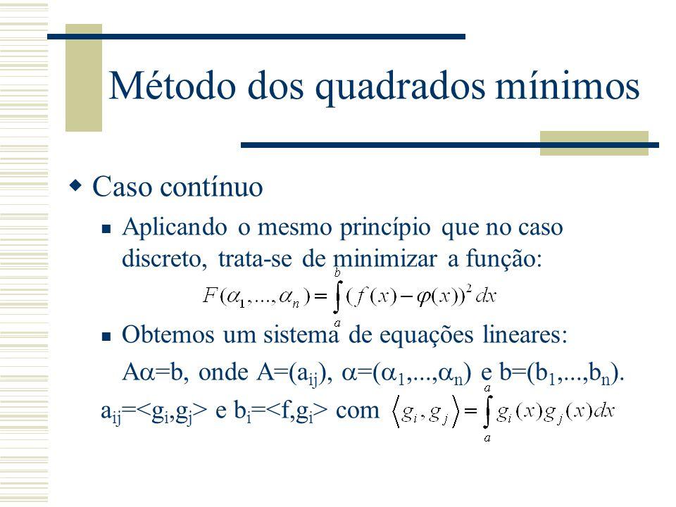 Método dos quadrados mínimos  Caso contínuo Aplicando o mesmo princípio que no caso discreto, trata-se de minimizar a função: Obtemos um sistema de e