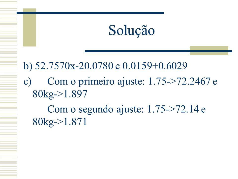 Solução b) 52.7570x-20.0780 e 0.0159+0.6029 c) Com o primeiro ajuste: 1.75->72.2467 e 80kg->1.897 Com o segundo ajuste: 1.75->72.14 e 80kg->1.871