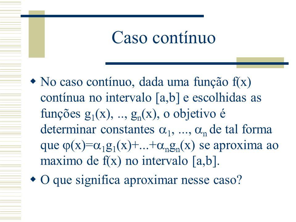 Método dos quadrados mínimos  Caso discreto Considerando um conjunto de valores {(x 1,f(x 1 )),..., {(x m,f(x m ))} e n (com n  m) funções g n (x), o objetivo é encontrar um conjunto de coeficientes  1,..,  n de tal forma que a função  (x)=  1 g 1 (x)+..+  n g n (x) se aproxima ao máximo de f(x).