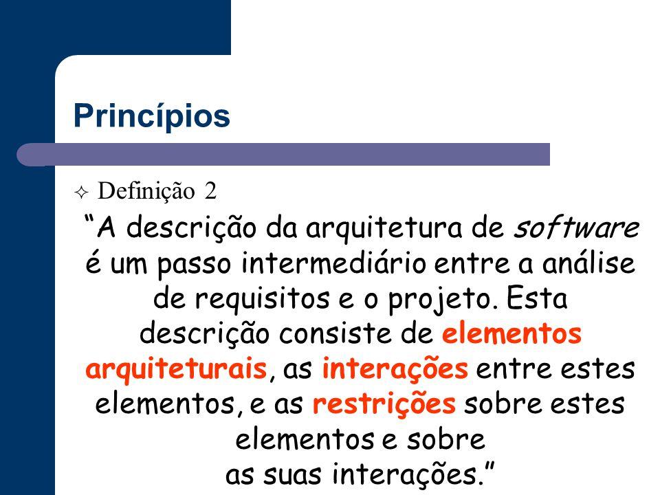 """Princípios  Definição 2 """"A descrição da arquitetura de software é um passo intermediário entre a análise de requisitos e o projeto. Esta descrição co"""