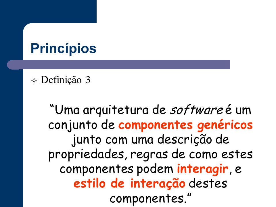 """Princípios  Definição 3 """"Uma arquitetura de software é um conjunto de componentes genéricos junto com uma descrição de propriedades, regras de como e"""