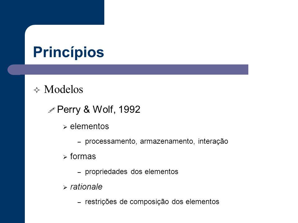 Princípios  Modelos ! Perry & Wolf, 1992  elementos – processamento, armazenamento, interação  formas – propriedades dos elementos  rationale – re