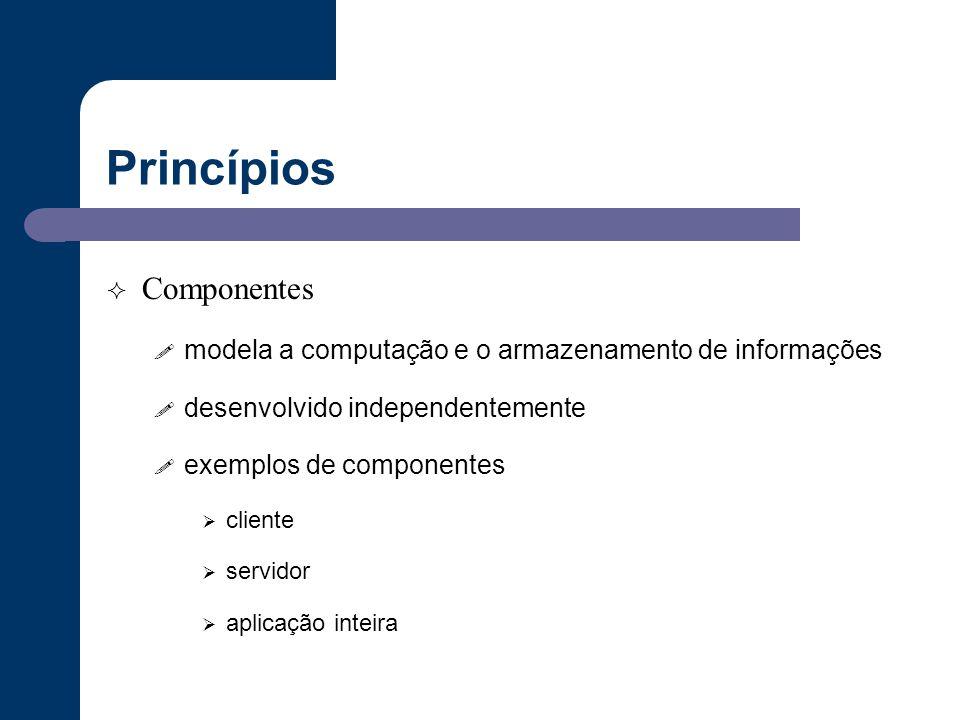 Princípios  Componentes ! modela a computação e o armazenamento de informações ! desenvolvido independentemente ! exemplos de componentes  cliente 