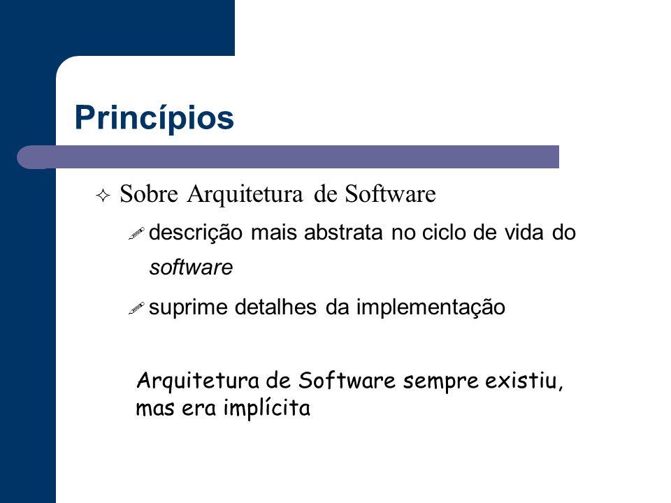 Princípios  Sobre Arquitetura de Software ! descrição mais abstrata no ciclo de vida do software ! suprime detalhes da implementação Arquitetura de S