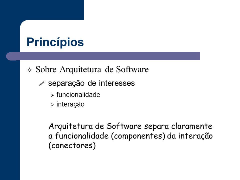 Princípios  Sobre Arquitetura de Software ! separação de interesses  funcionalidade  interação Arquitetura de Software separa claramente a funciona