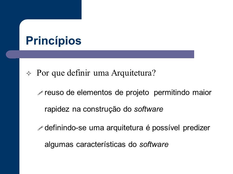 Princípios  Por que definir uma Arquitetura? ! reuso de elementos de projeto permitindo maior rapidez na construção do software ! definindo-se uma ar