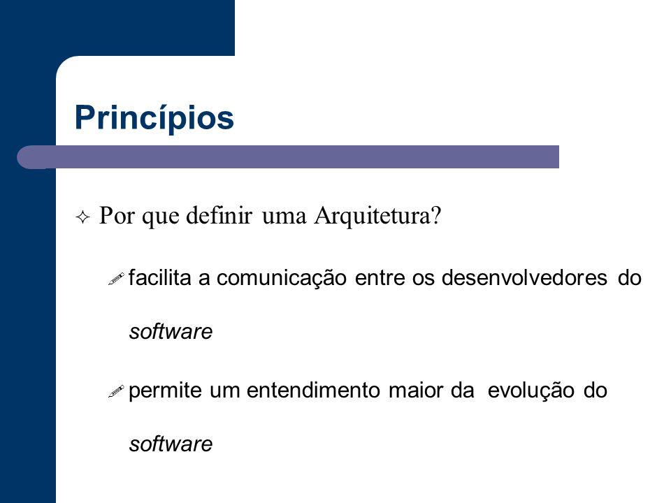 Princípios  Por que definir uma Arquitetura? ! facilita a comunicação entre os desenvolvedores do software ! permite um entendimento maior da evoluçã