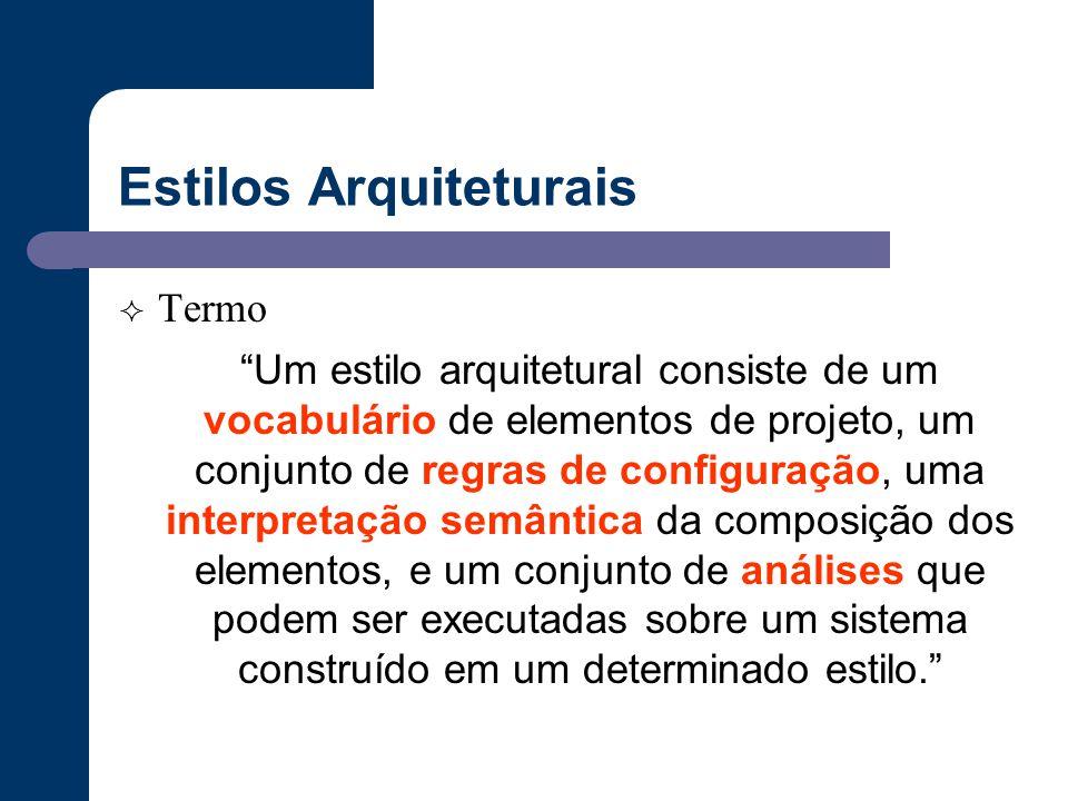 """Estilos Arquiteturais  Termo """"Um estilo arquitetural consiste de um vocabulário de elementos de projeto, um conjunto de regras de configuração, uma i"""