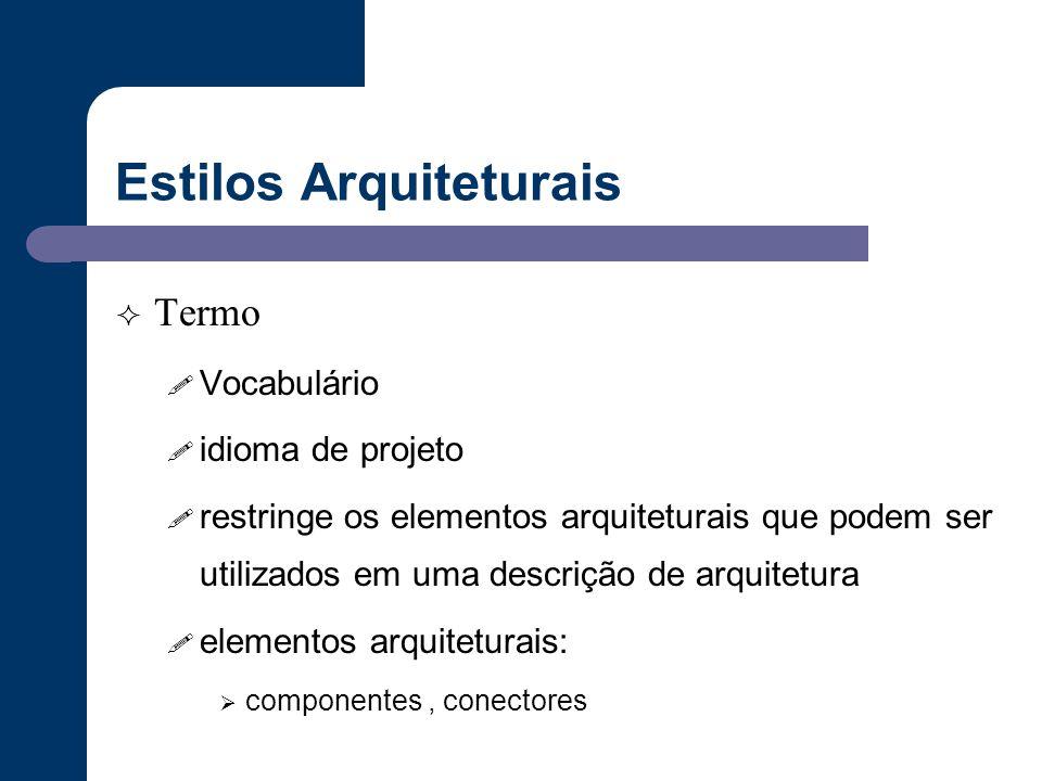 Estilos Arquiteturais  Termo ! Vocabulário ! idioma de projeto ! restringe os elementos arquiteturais que podem ser utilizados em uma descrição de ar