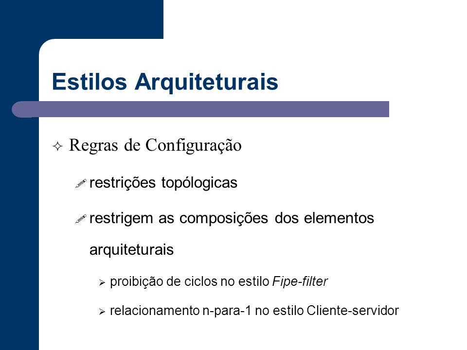 Estilos Arquiteturais  Regras de Configuração ! restrições topólogicas ! restrigem as composições dos elementos arquiteturais  proibição de ciclos n