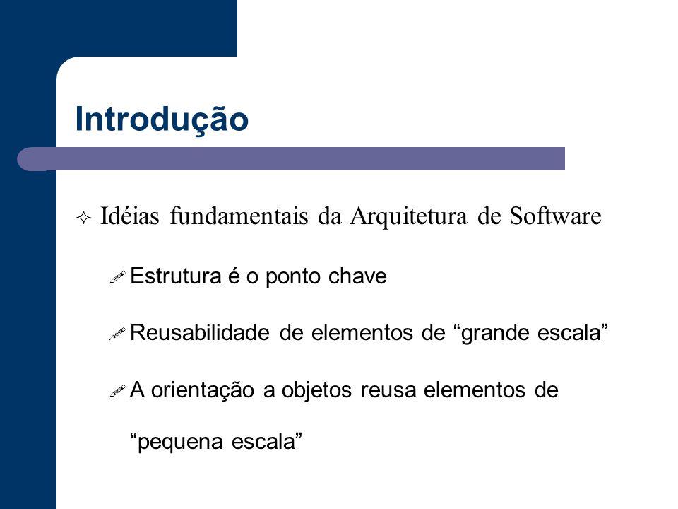 """Introdução  Idéias fundamentais da Arquitetura de Software ! Estrutura é o ponto chave ! Reusabilidade de elementos de """"grande escala"""" ! A orientação"""