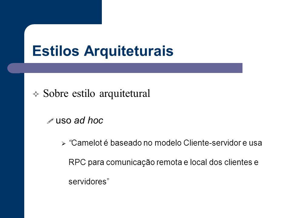"""Estilos Arquiteturais  Sobre estilo arquitetural ! uso ad hoc  """"Camelot é baseado no modelo Cliente-servidor e usa RPC para comunicação remota e loc"""