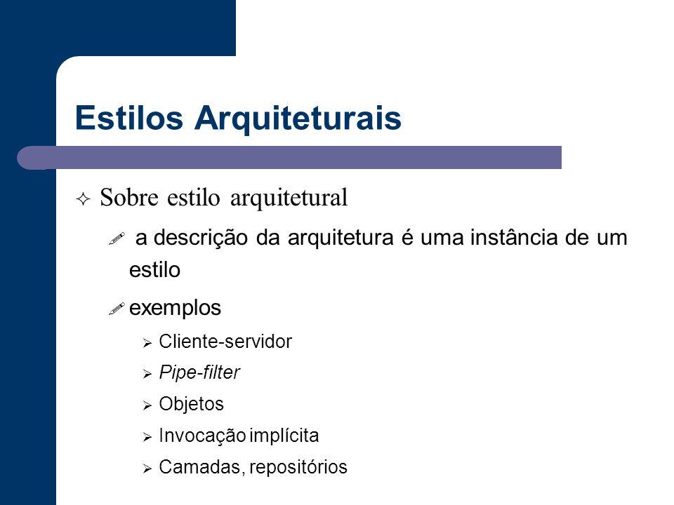 Estilos Arquiteturais  Sobre estilo arquitetural ! a descrição da arquitetura é uma instância de um estilo ! exemplos  Cliente-servidor  Pipe-filte
