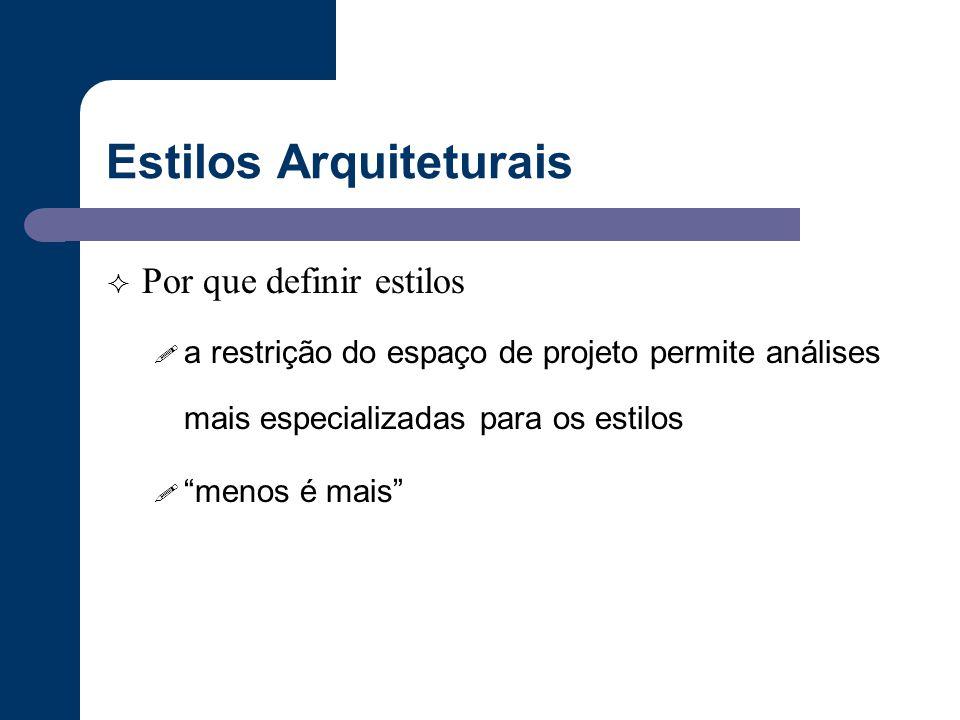 """Estilos Arquiteturais  Por que definir estilos ! a restrição do espaço de projeto permite análises mais especializadas para os estilos ! """"menos é mai"""