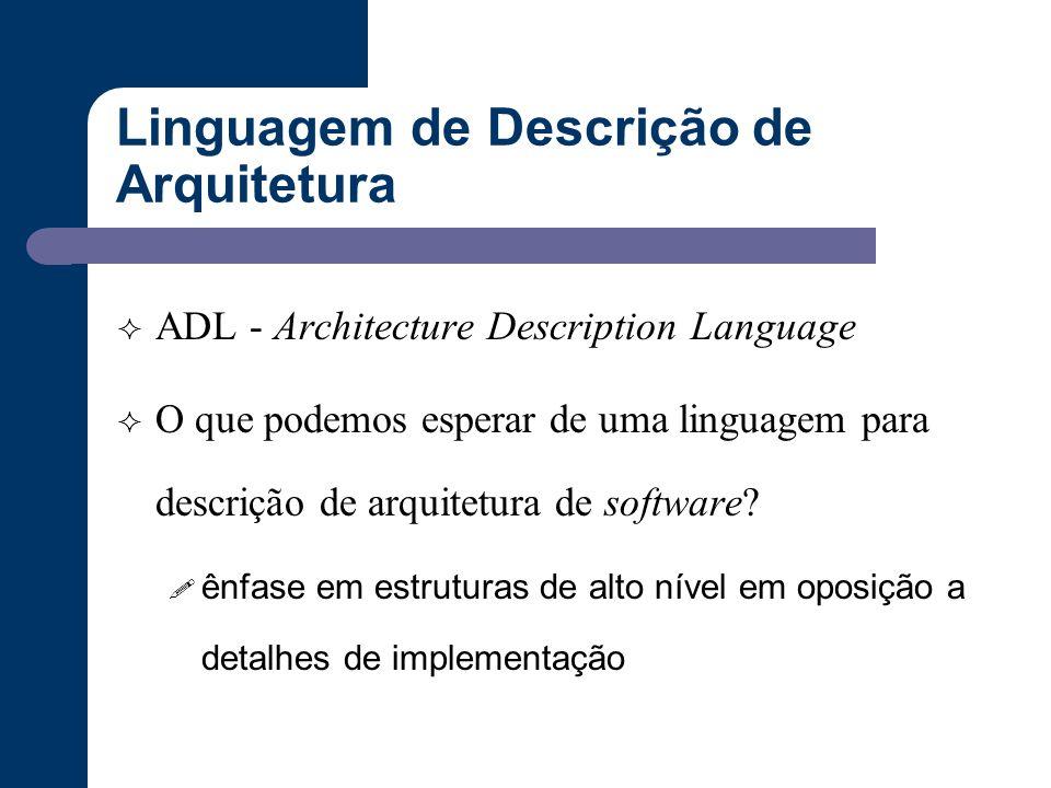 Linguagem de Descrição de Arquitetura  ADL - Architecture Description Language  O que podemos esperar de uma linguagem para descrição de arquitetura