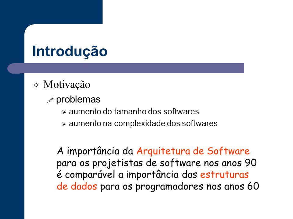 Introdução  Motivação ! problemas  aumento do tamanho dos softwares  aumento na complexidade dos softwares A importância da Arquitetura de Software