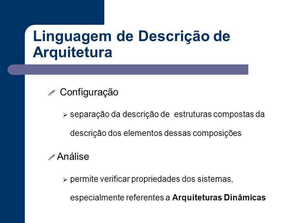 Linguagem de Descrição de Arquitetura ! Configuração  separação da descrição de estruturas compostas da descrição dos elementos dessas composições !