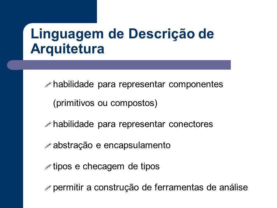 Linguagem de Descrição de Arquitetura ! habilidade para representar componentes (primitivos ou compostos) ! habilidade para representar conectores ! a