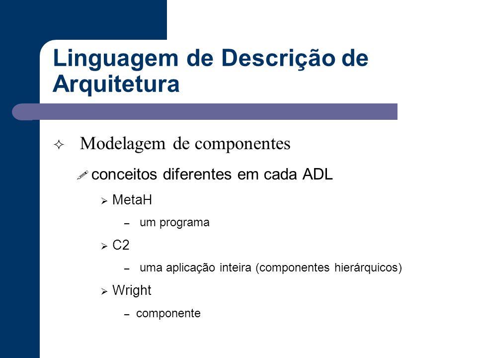 Linguagem de Descrição de Arquitetura  Modelagem de componentes ! conceitos diferentes em cada ADL  MetaH – um programa  C2 – uma aplicação inteira