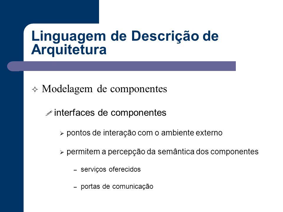 Linguagem de Descrição de Arquitetura  Modelagem de componentes ! interfaces de componentes  pontos de interação com o ambiente externo  permitem a