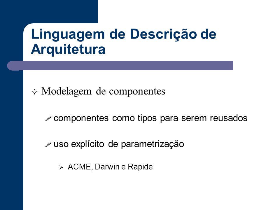 Linguagem de Descrição de Arquitetura  Modelagem de componentes ! componentes como tipos para serem reusados ! uso explícito de parametrização  ACME