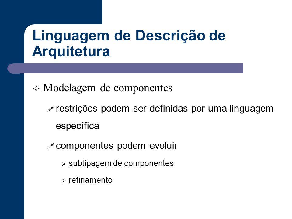 Linguagem de Descrição de Arquitetura  Modelagem de componentes ! restrições podem ser definidas por uma linguagem específica ! componentes podem evo