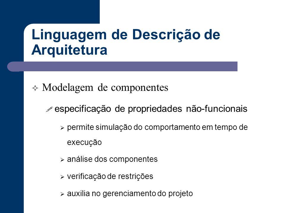 Linguagem de Descrição de Arquitetura  Modelagem de componentes ! especificação de propriedades não-funcionais  permite simulação do comportamento e