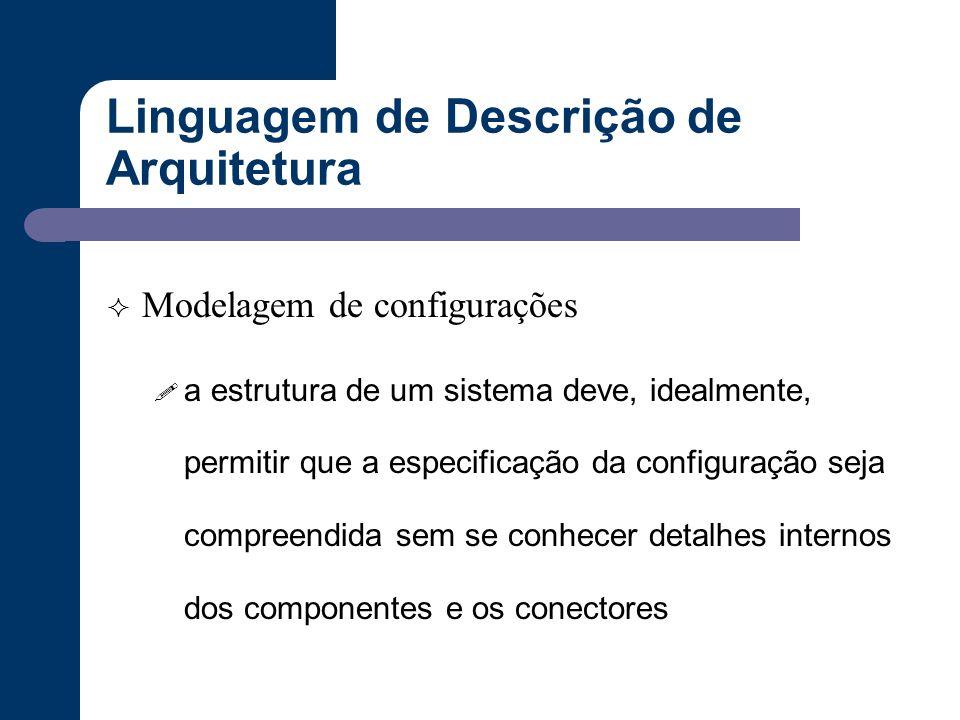 Linguagem de Descrição de Arquitetura  Modelagem de configurações ! a estrutura de um sistema deve, idealmente, permitir que a especificação da confi